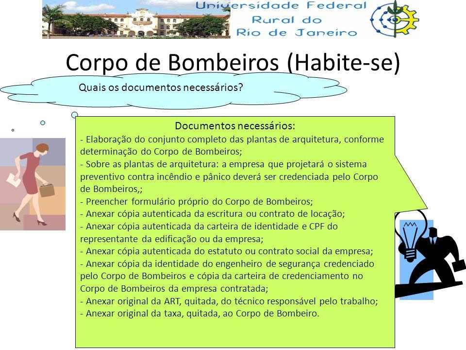 Corpo de Bombeiros (Habite-se) Quais os documentos necessários? Documentos necessários: - Elaboração do conjunto completo das plantas de arquitetura,