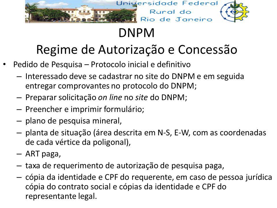 DNPM Regime de Autorização e Concessão Pedido de Pesquisa – Protocolo inicial e definitivo – Interessado deve se cadastrar no site do DNPM e em seguid