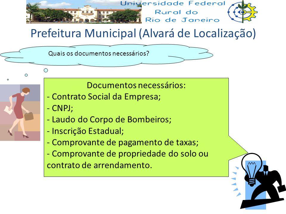 Quais os documentos necessários? Documentos necessários: - Contrato Social da Empresa; - CNPJ; - Laudo do Corpo de Bombeiros; - Inscrição Estadual; -