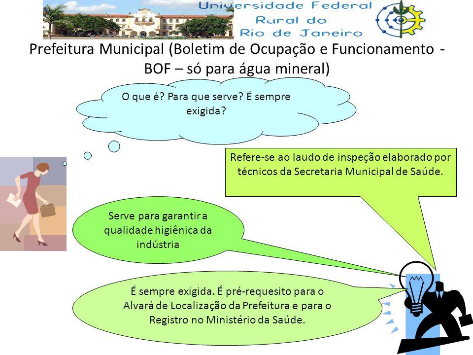 Prefeitura Municipal (Boletim de Ocupação e Funcionamento - BOF – só para água mineral) O que é? Para que serve? É sempre exigida? Refere-se ao laudo