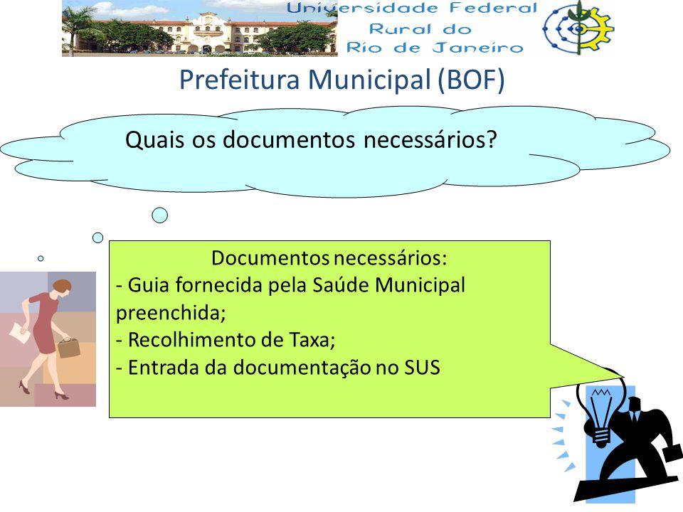 Quais os documentos necessários? Documentos necessários: - Guia fornecida pela Saúde Municipal preenchida; - Recolhimento de Taxa; - Entrada da docume