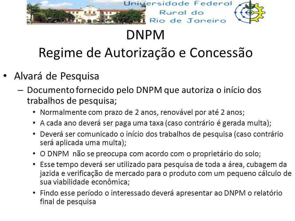 DNPM Regime de Autorização e Concessão Alvará de Pesquisa – Documento fornecido pelo DNPM que autoriza o início dos trabalhos de pesquisa; Normalmente