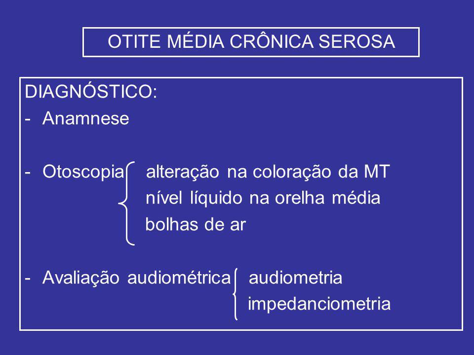 DIAGNÓSTICO: -Anamnese -Otoscopia alteração na coloração da MT nível líquido na orelha média bolhas de ar -Avaliação audiométrica audiometria impedanciometria OTITE MÉDIA CRÔNICA SEROSA
