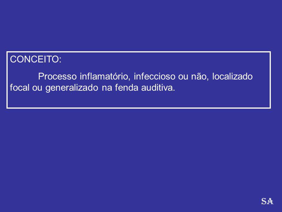 CONCEITO: Processo inflamatório, infeccioso ou não, localizado focal ou generalizado na fenda auditiva. SA