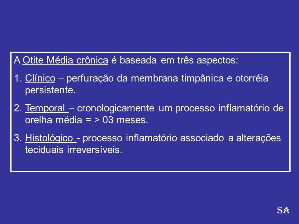 A Otite Média crônica é baseada em três aspectos: 1.Clínico – perfuração da membrana timpânica e otorréia persistente.