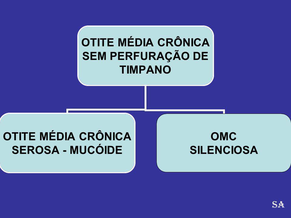 OTITE MÉDIA CRÔNICA SEM PERFURAÇÃO DE TIMPANO OTITE MÉDIA CRÔNICA SEROSA - MUCÓIDE OMC SILENCIOSA SA