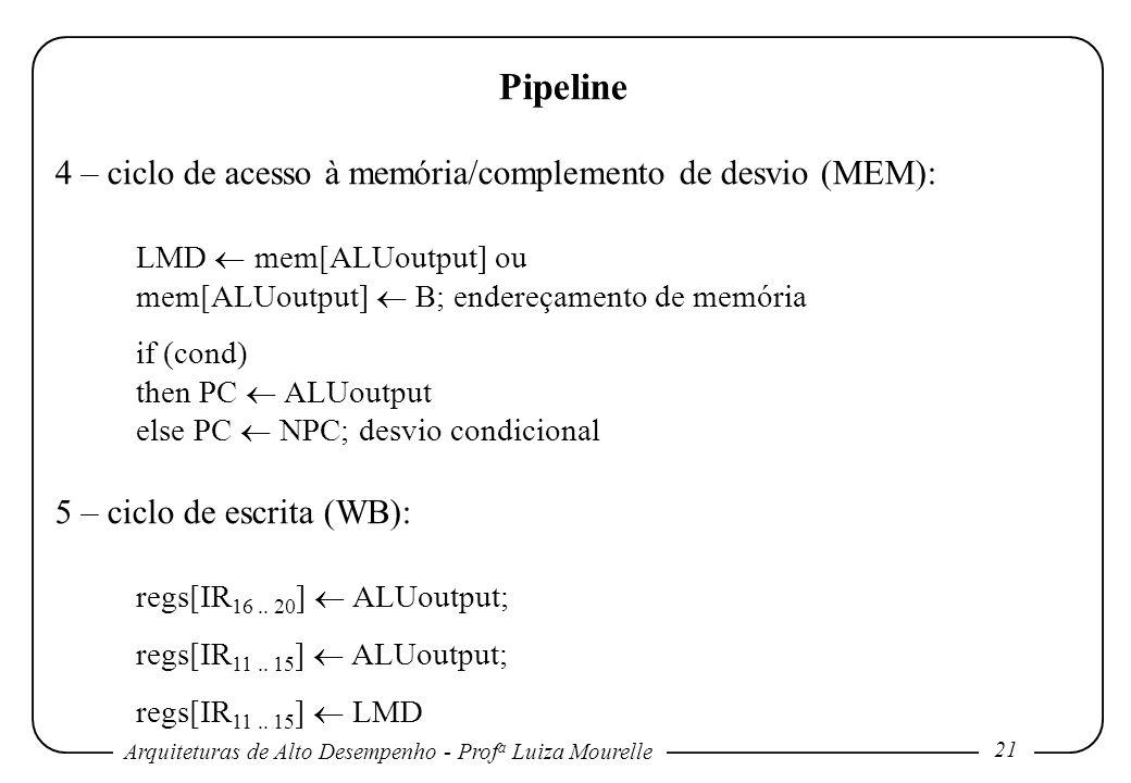 Arquiteturas de Alto Desempenho - Prof a Luiza Mourelle 21 Pipeline 4 – ciclo de acesso à memória/complemento de desvio (MEM): LMD mem[ALUoutput] ou m