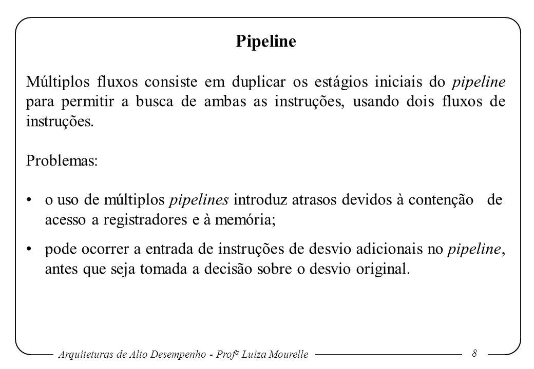 Arquiteturas de Alto Desempenho - Prof a Luiza Mourelle 19 Pipeline Todas as instruções levam, no máximo, cinco ciclos de clock para serem executadas: 1 – ciclo de busca de instrução (IF): IR mem[PC]; NPC PC + 4 2 – ciclo de decodificação de instrução/busca de registrador (ID): A regs[IR 6..
