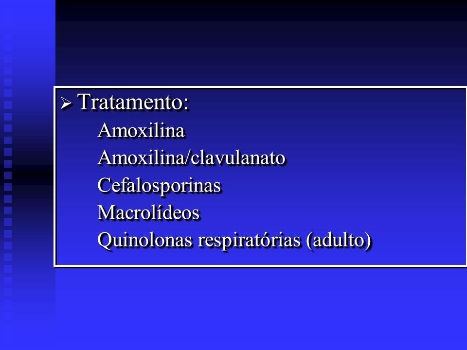 Tratamentos coadjuvantes: Tratamentos coadjuvantes: Vasoconstritores nasais Anti-inflamatórios (corticóide) Fluidificantes de muco Limpeza das secreções Calor local Tratamentos coadjuvantes: Tratamentos coadjuvantes: Vasoconstritores nasais Anti-inflamatórios (corticóide) Fluidificantes de muco Limpeza das secreções Calor local