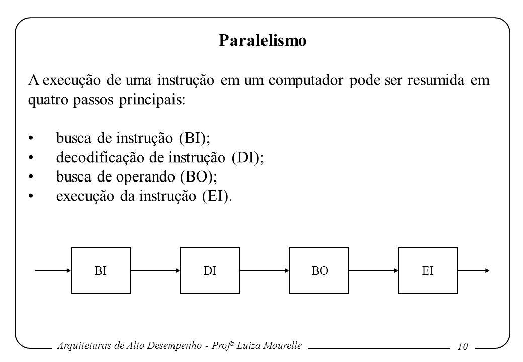 Arquiteturas de Alto Desempenho - Prof a Luiza Mourelle 10 Paralelismo A execução de uma instrução em um computador pode ser resumida em quatro passos principais: busca de instrução (BI); decodificação de instrução (DI); busca de operando (BO); execução da instrução (EI).