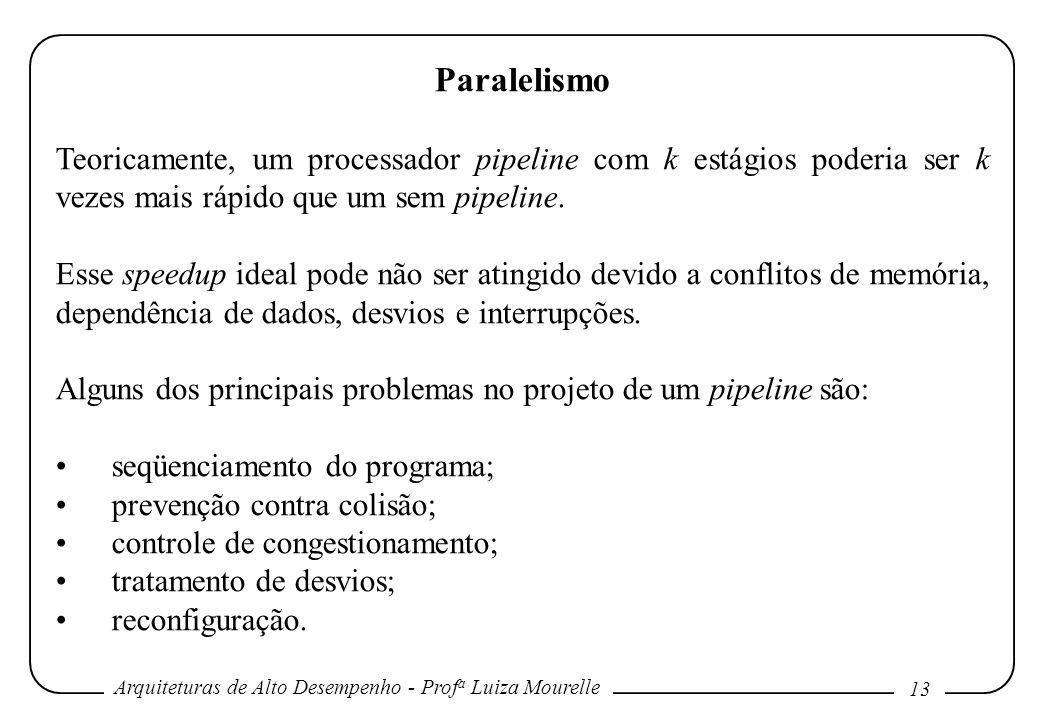 Arquiteturas de Alto Desempenho - Prof a Luiza Mourelle 13 Paralelismo Teoricamente, um processador pipeline com k estágios poderia ser k vezes mais rápido que um sem pipeline.