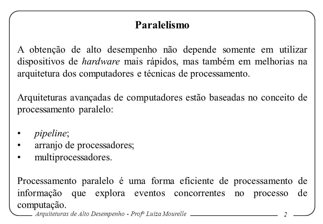 Arquiteturas de Alto Desempenho - Prof a Luiza Mourelle 2 Paralelismo A obtenção de alto desempenho não depende somente em utilizar dispositivos de ha