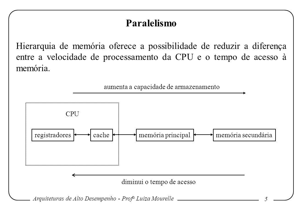 Arquiteturas de Alto Desempenho - Prof a Luiza Mourelle 5 Paralelismo Hierarquia de memória oferece a possibilidade de reduzir a diferença entre a velocidade de processamento da CPU e o tempo de acesso à memória.