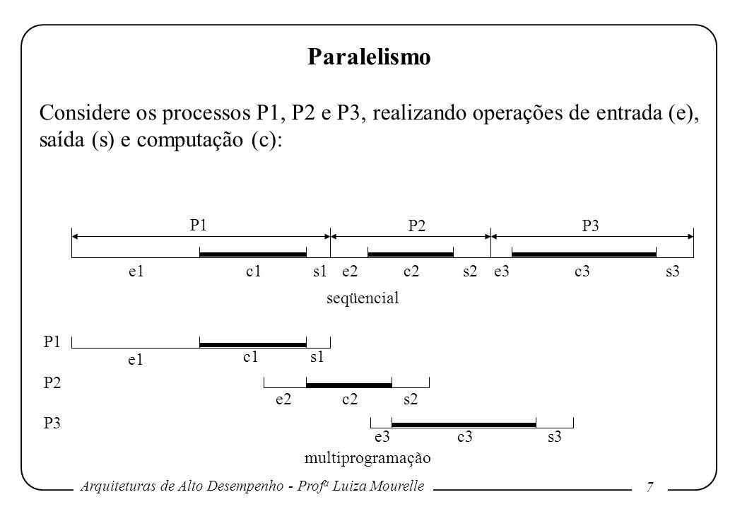 Arquiteturas de Alto Desempenho - Prof a Luiza Mourelle 7 Paralelismo Considere os processos P1, P2 e P3, realizando operações de entrada (e), saída (s) e computação (c): P1 P2 P3 P1 P2P3 e1c1s1e2c2s2e3c3s3 multiprogramação seqüencial e1 c1s1 e2 c2 s2 e3 c3s3
