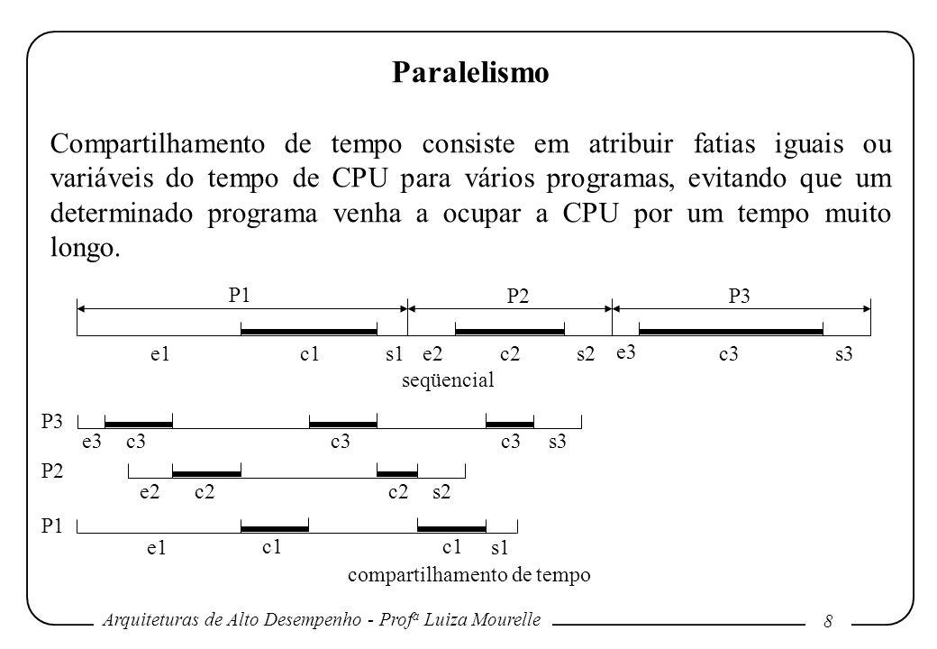 Arquiteturas de Alto Desempenho - Prof a Luiza Mourelle 8 Paralelismo Compartilhamento de tempo consiste em atribuir fatias iguais ou variáveis do tempo de CPU para vários programas, evitando que um determinado programa venha a ocupar a CPU por um tempo muito longo.