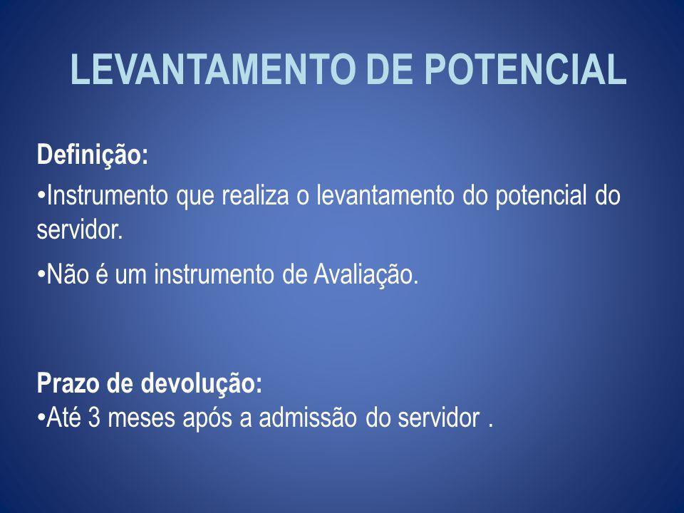 LEVANTAMENTO DE POTENCIAL Definição: Instrumento que realiza o levantamento do potencial do servidor.