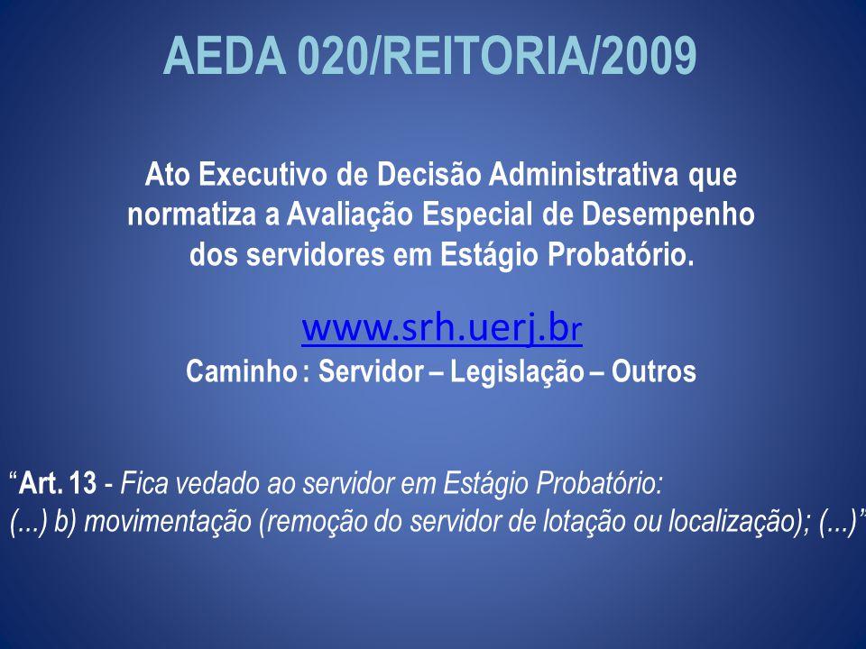 AEDA 020/REITORIA/2009 Ato Executivo de Decisão Administrativa que normatiza a Avaliação Especial de Desempenho dos servidores em Estágio Probatório.