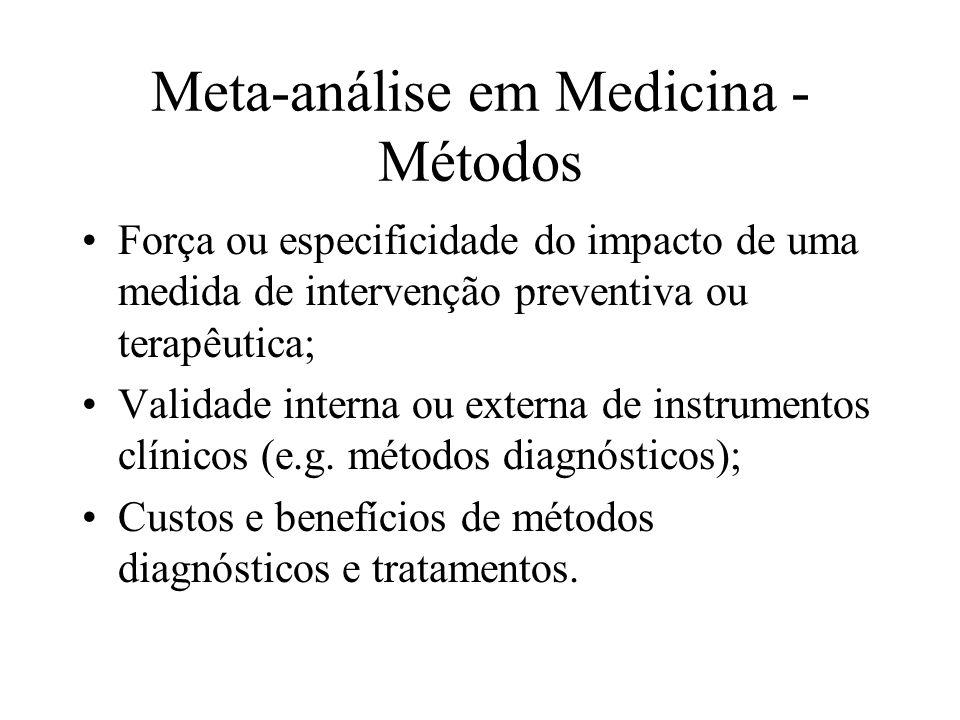 Meta-análise em Medicina - Métodos Há três abordagens principais na estimação do tamanho do efeito entre os vários estudos: Médias dos resultados dos estudos originais; Método de Mantel-Haenszel para observações estratificadas; Recomendações de Cochran para combinar taxas de ensaios clínicos individuais.