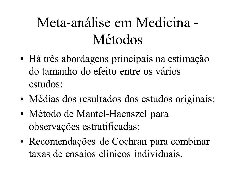 Meta-análise em Medicina - Métodos Metodogias alternativas: Uma metodologia baseada na abordagem empírica de Bayes já foi proposta para avaliação de benefícios e riscos de cirurgias (Gilbert, McPeek, Mosteller, 1977); Modelagem do tamanho do efeito ou métodos de meta-regressão (Greenland e Rothman, 1998).