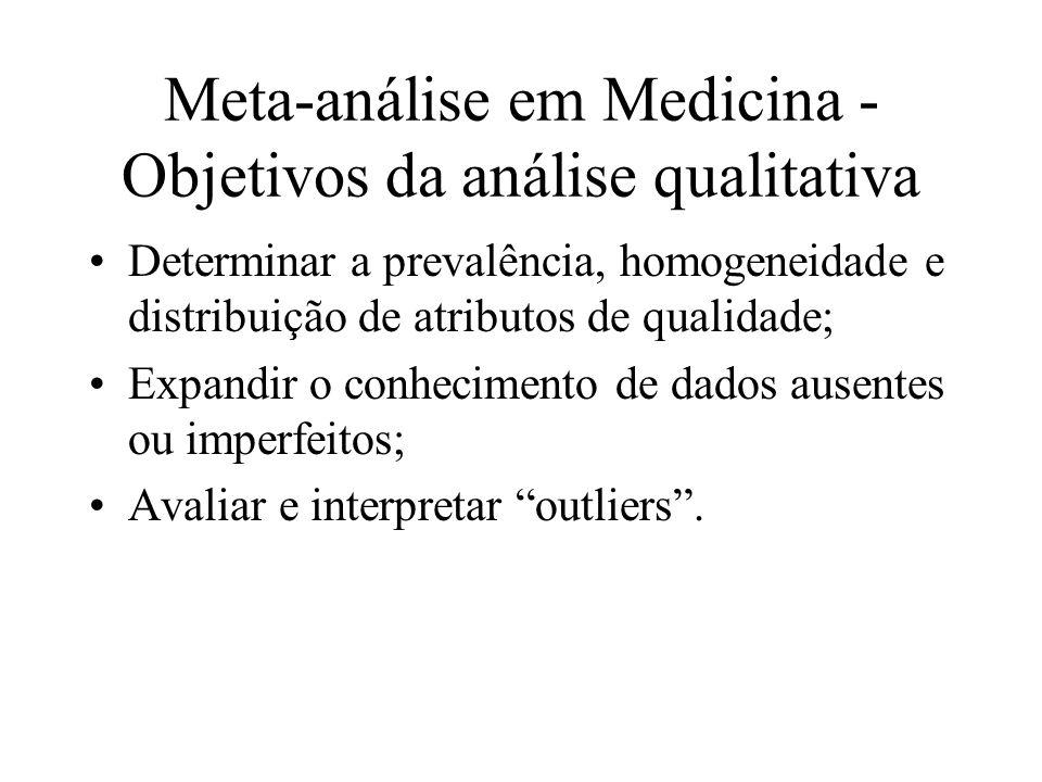 Meta-análise em Medicina - Objetivos da análise qualitativa Determinar a prevalência, homogeneidade e distribuição de atributos de qualidade; Expandir