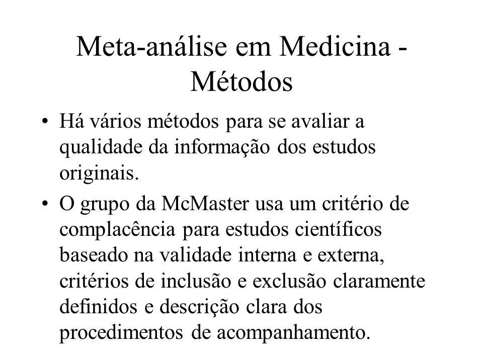 Meta-análise em Medicina - Critérios de qualidade Também os estudos de meta-análise devem ser avaliados segundo critários bem estabelecidos, como: uma lista dos estudos integrados; critérios de seleção e avaliação dos estudos; decrição clara da metodologia da meta- análise; apresentação de todos os resultados qualitativos e quantitativos da meta-análise.