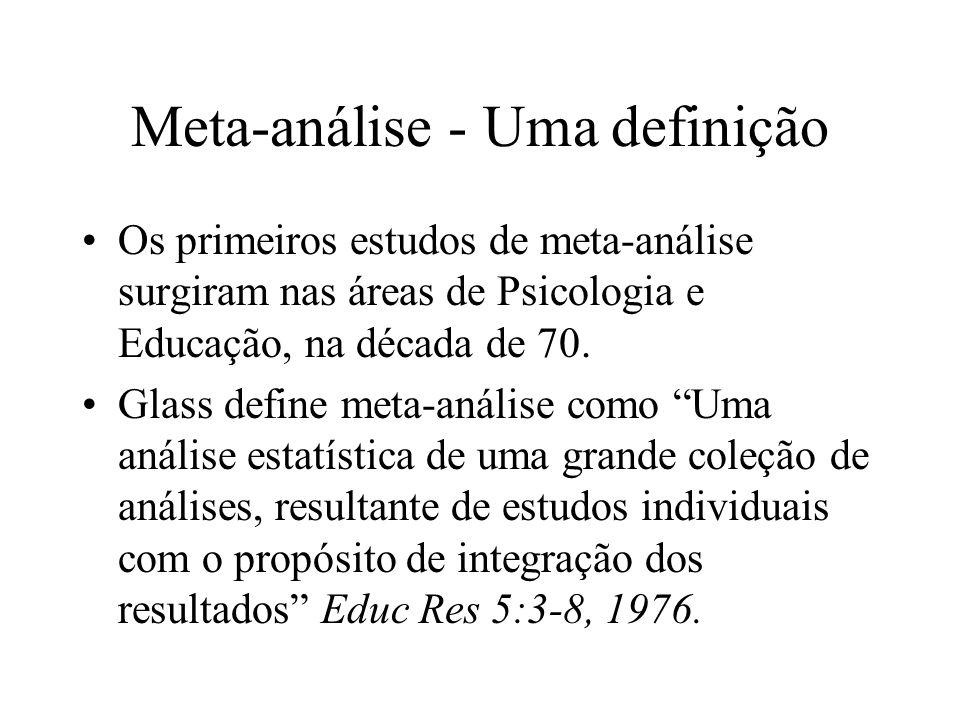 Meta-análise - Uma definição Os primeiros estudos de meta-análise surgiram nas áreas de Psicologia e Educação, na década de 70. Glass define meta-anál