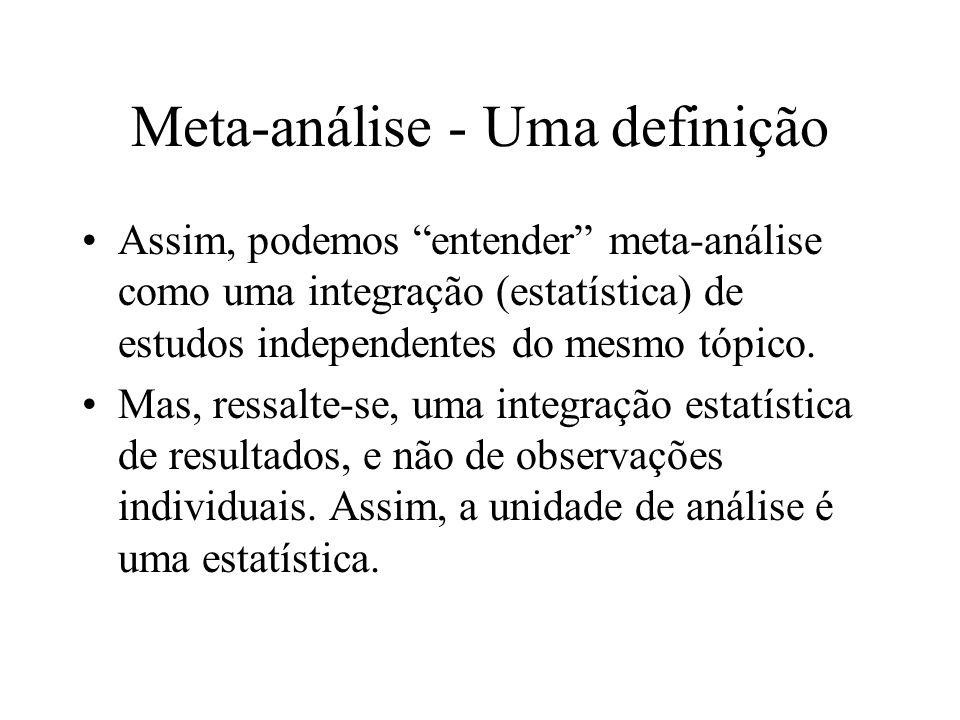 Meta-análise - Uma definição Assim, podemos entender meta-análise como uma integração (estatística) de estudos independentes do mesmo tópico. Mas, res