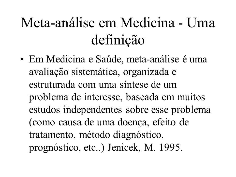 Meta-análise em Medicina - Uma definição Em Medicina e Saúde, meta-análise é uma avaliação sistemática, organizada e estruturada com uma síntese de um