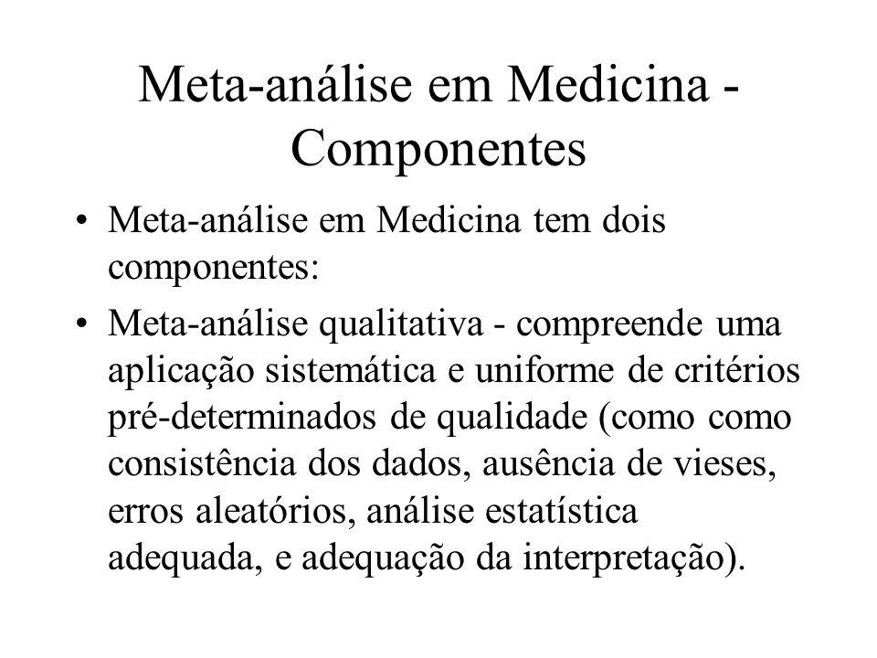 Meta-análise em Medicina - Componentes Meta-análise em Medicina tem dois componentes: Meta-análise qualitativa - compreende uma aplicação sistemática