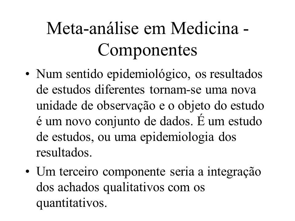 Meta-análise em Medicina - Objetivos Os objetivos principais de uma meta-análise em Medicina seriam: Confirmar uma informação; Encontrar erros; Buscar achados adicionais (indução); Encontrar novas idéias para pesquisas adicionais.