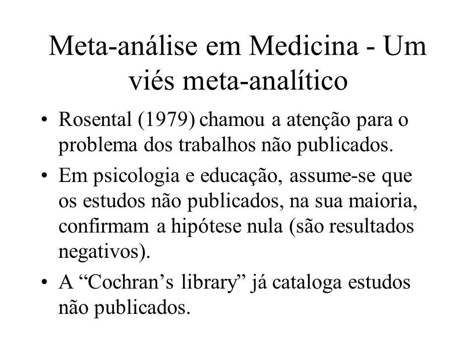 Meta-análise em Medicina - Um viés meta-analítico Rosental (1979) chamou a atenção para o problema dos trabalhos não publicados. Em psicologia e educa