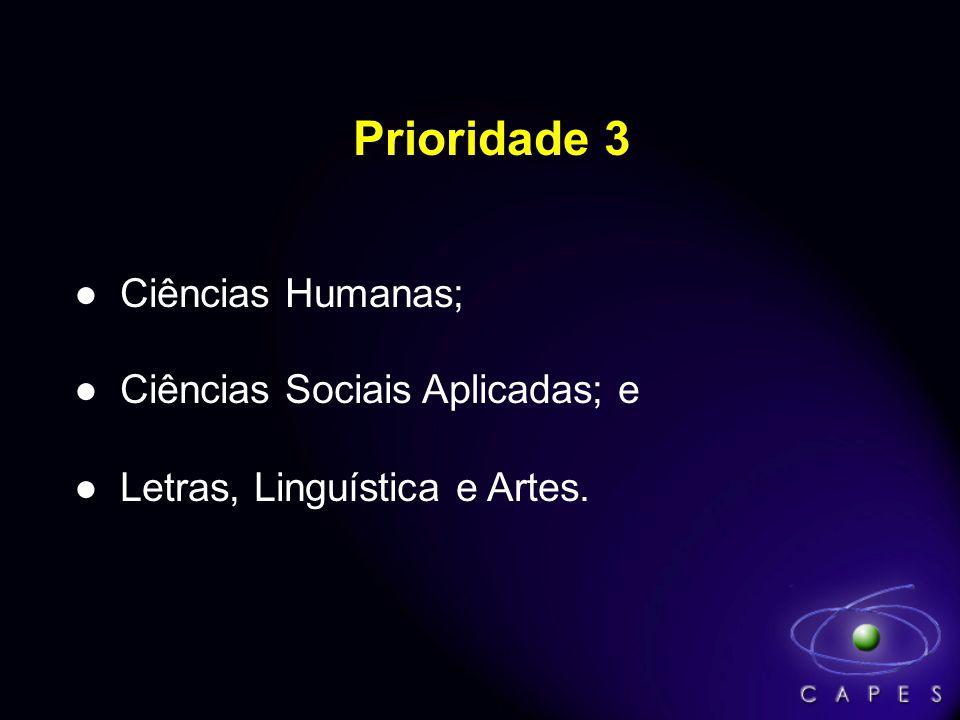 Prioridade 3 Ciências Humanas; Ciências Sociais Aplicadas; e Letras, Linguística e Artes.