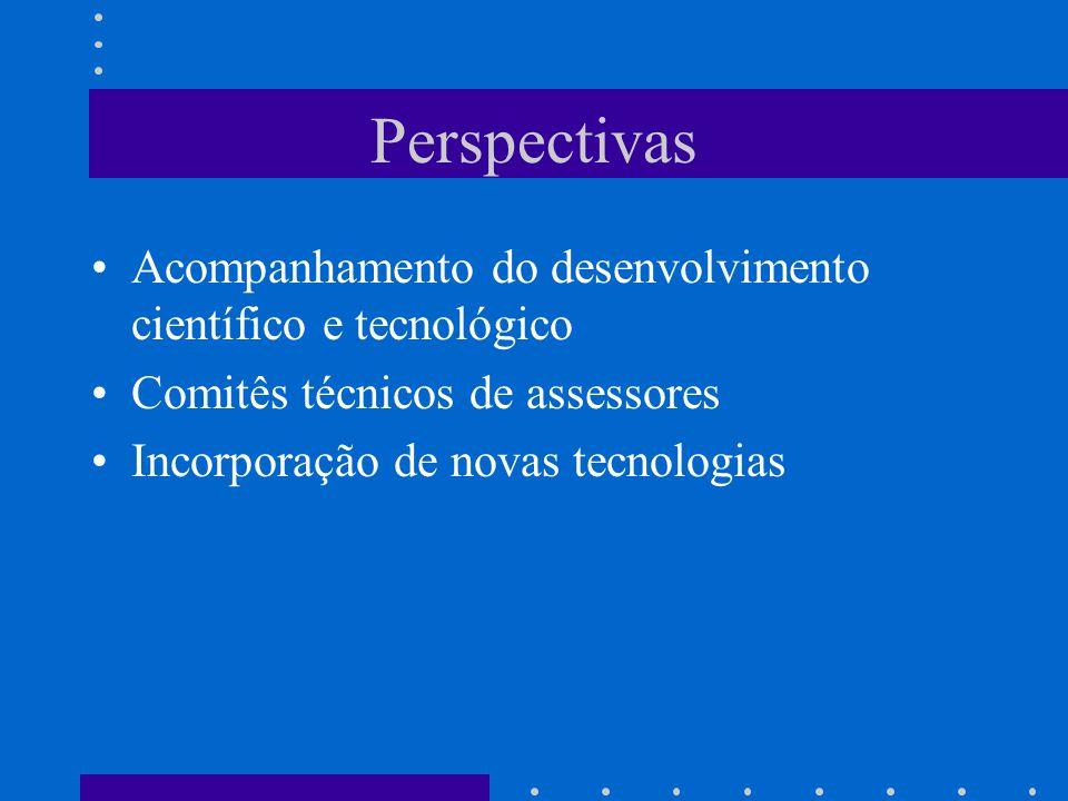 Perspectivas Acompanhamento do desenvolvimento científico e tecnológico Comitês técnicos de assessores Incorporação de novas tecnologias