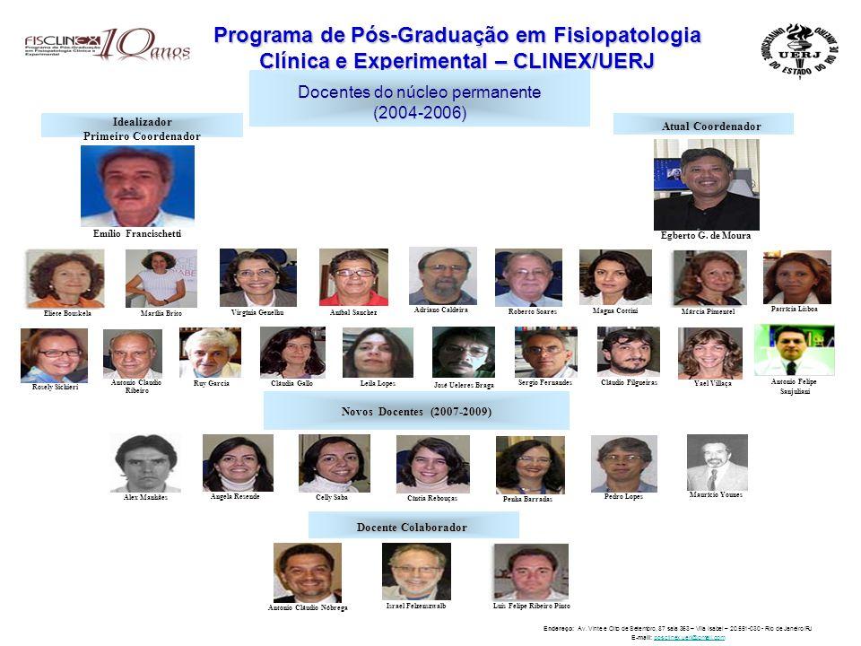 Programa de Pós-Graduação em Fisiopatologia Clínica e Experimental – CLINEX/UERJ Docentes do núcleo permanente (2004-2006) Idealizador Primeiro Coordenador Emílio Francischetti Atual Coordenador Egberto G.