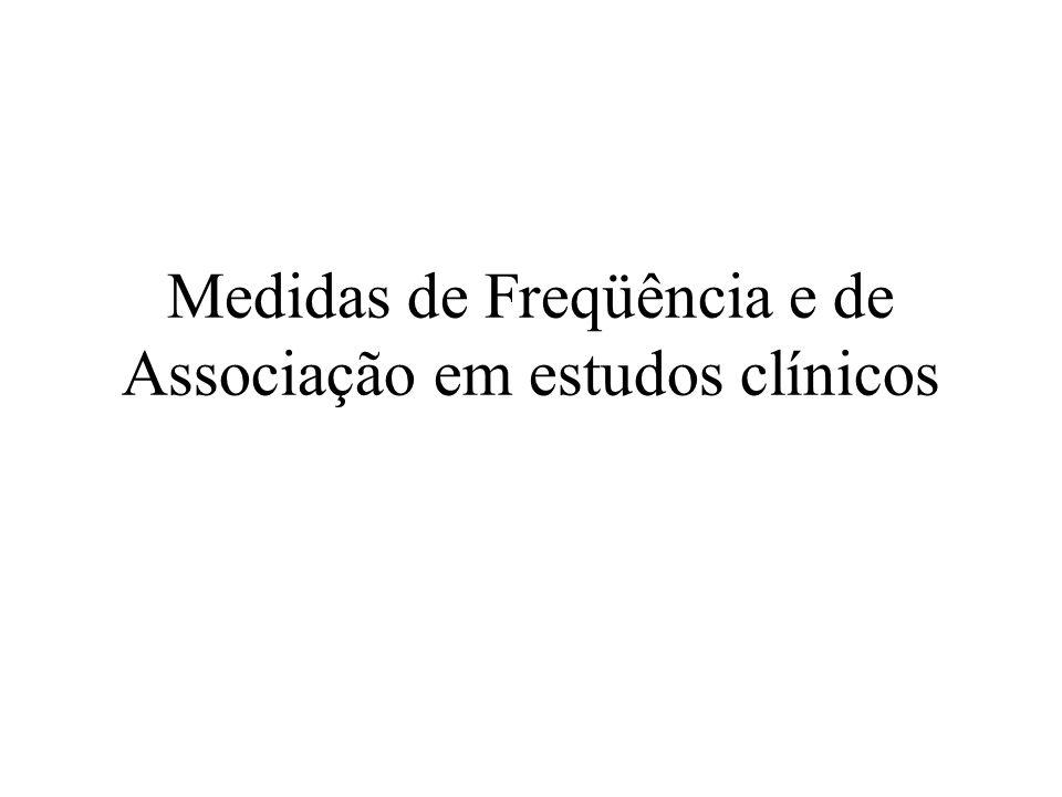 Medidas de Freqüência de doenças Medidas da ocorrência de doenças –Taxas Medidas de associação –Risco Relativo –Odds-ratio –Risco Atribuível