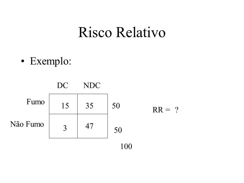 Risco Relativo Exemplo: DCNDC Fumo Não Fumo 100 50 15 3 35 47 RR =?