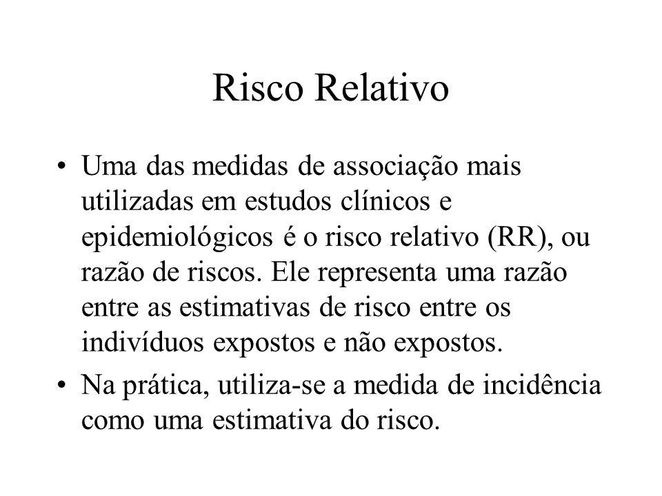 Risco Relativo Uma das medidas de associação mais utilizadas em estudos clínicos e epidemiológicos é o risco relativo (RR), ou razão de riscos. Ele re