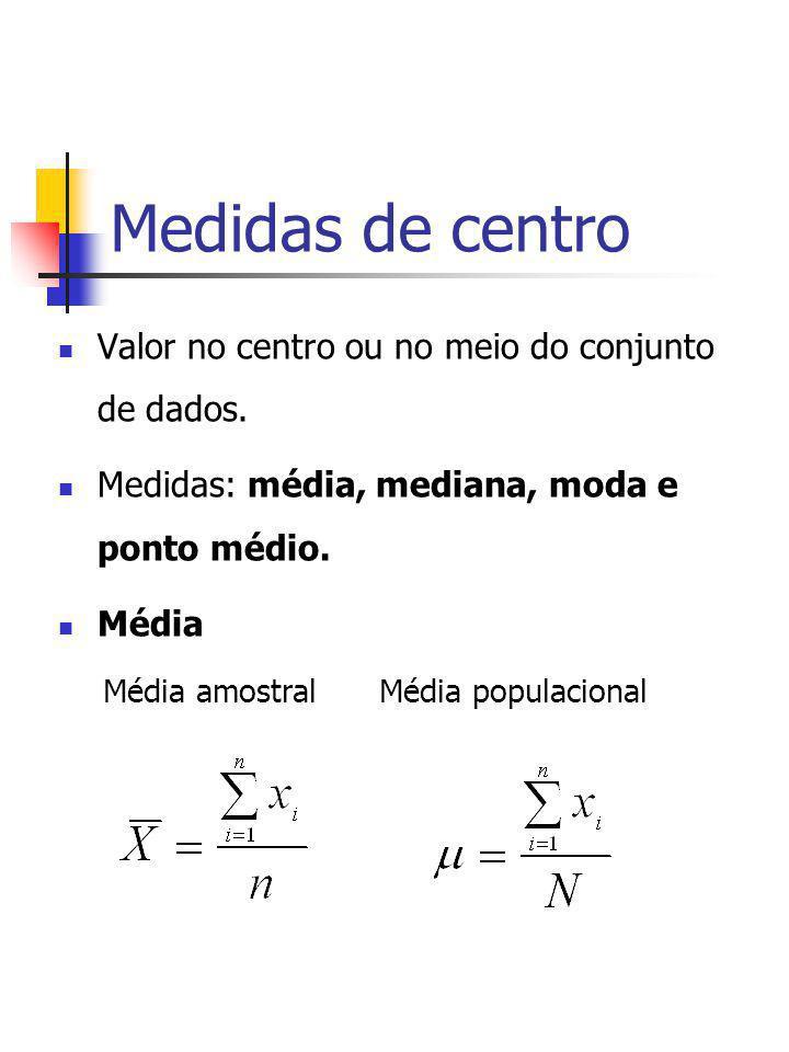 Medidas de centro Valor no centro ou no meio do conjunto de dados. Medidas: média, mediana, moda e ponto médio. Média Média amostral Média populaciona