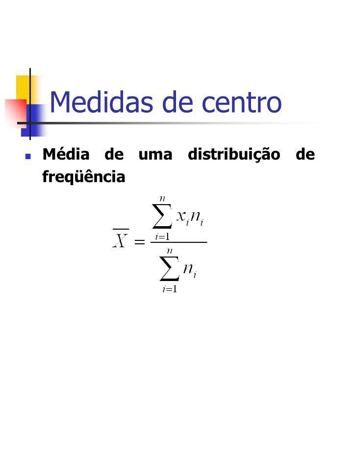 Medidas de centro Média de uma distribuição de freqüência