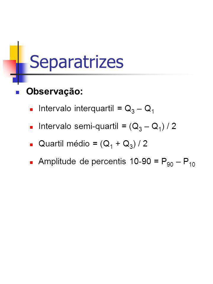 Observação: Intervalo interquartil = Q 3 – Q 1 Intervalo semi-quartil = (Q 3 – Q 1 ) / 2 Quartil médio = (Q 1 + Q 3 ) / 2 Amplitude de percentis 10-90