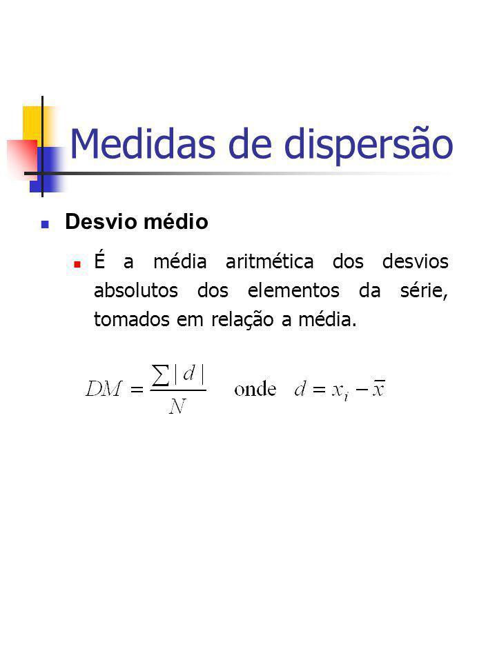 Medidas de dispersão Desvio médio É a média aritmética dos desvios absolutos dos elementos da série, tomados em relação a média.