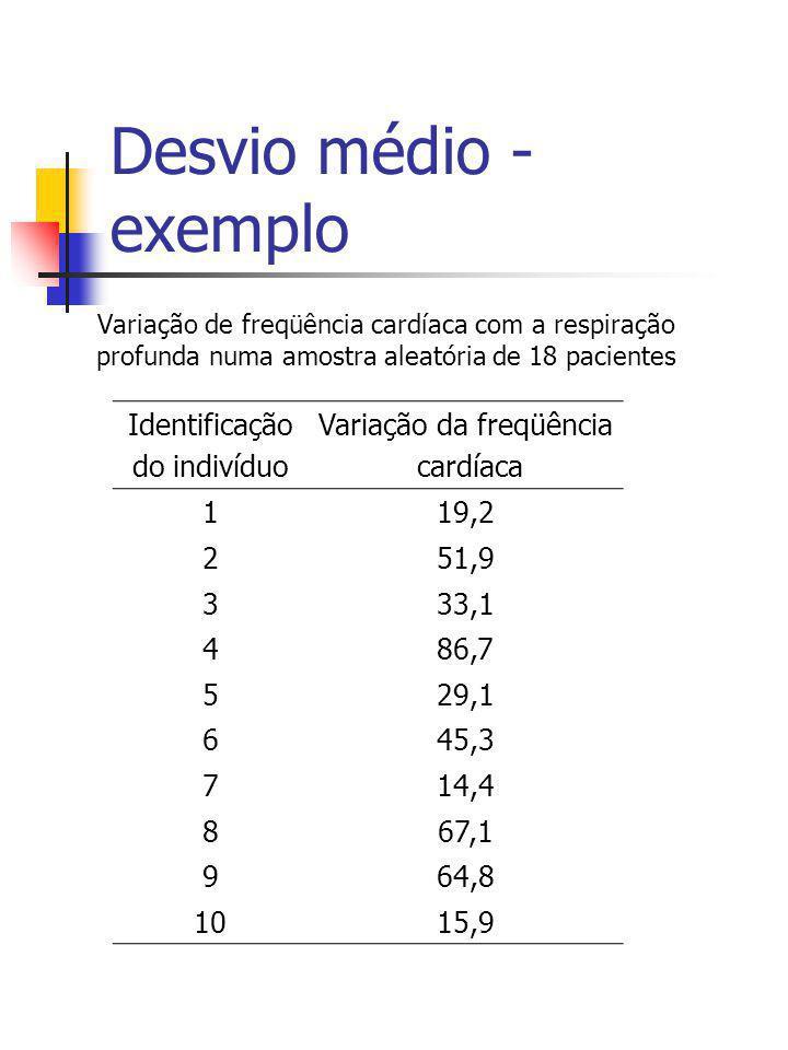 Desvio médio - exemplo Variação de freqüência cardíaca com a respiração profunda numa amostra aleatória de 18 pacientes Identificação do indivíduo Var