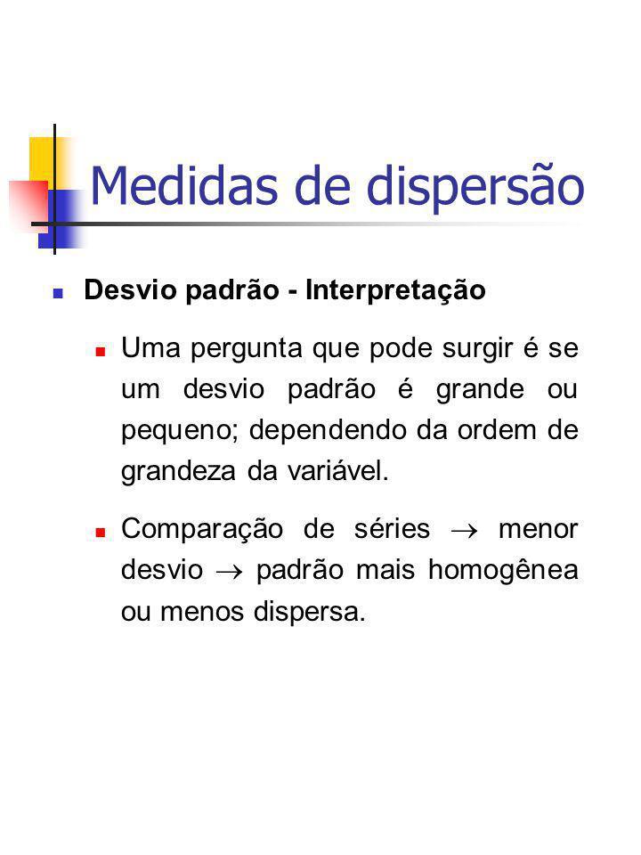 Medidas de dispersão Desvio padrão - Interpretação Uma pergunta que pode surgir é se um desvio padrão é grande ou pequeno; dependendo da ordem de gran