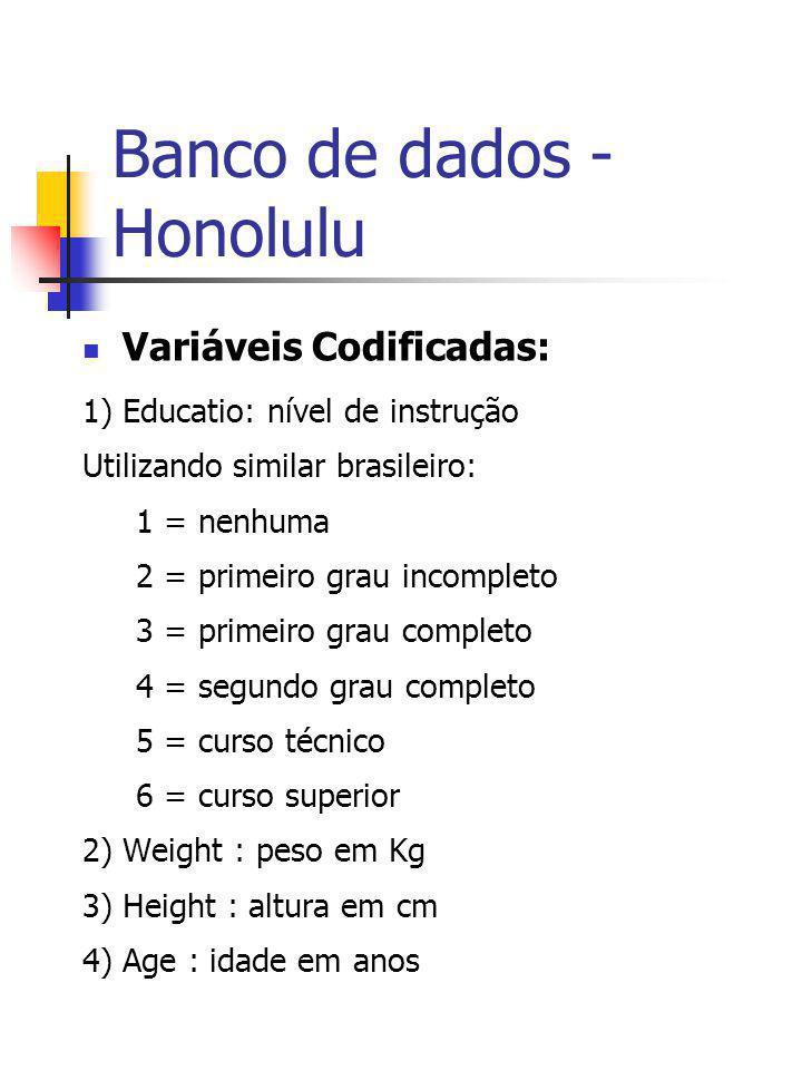 Banco de dados - Honolulu Variáveis Codificadas: 1) Educatio: nível de instrução Utilizando similar brasileiro: 1 = nenhuma 2 = primeiro grau incomple