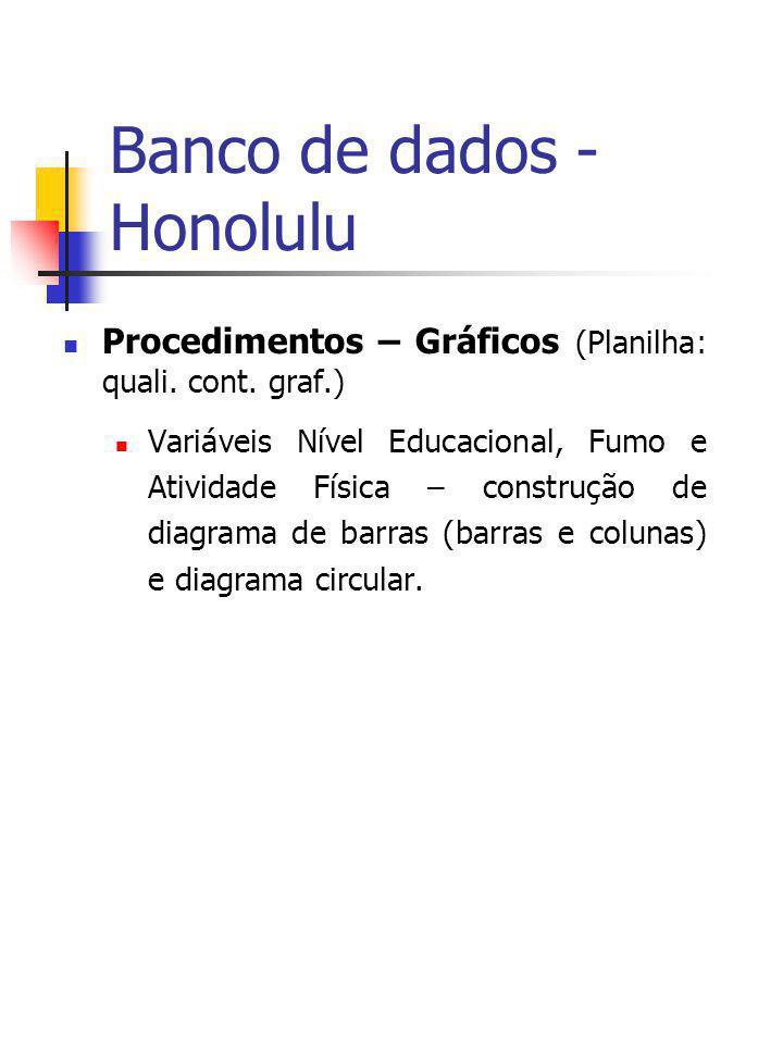 Banco de dados - Honolulu Procedimentos – Gráficos (Planilha: quali. cont. graf.) Variáveis Nível Educacional, Fumo e Atividade Física – construção de