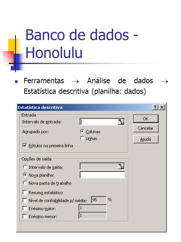 Banco de dados - Honolulu Ferramentas Análise de dados Estatística descritiva (planilha: dados)