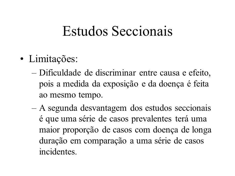 Estudos Seccionais Limitações: –Dificuldade de discriminar entre causa e efeito, pois a medida da exposição e da doença é feita ao mesmo tempo. –A seg