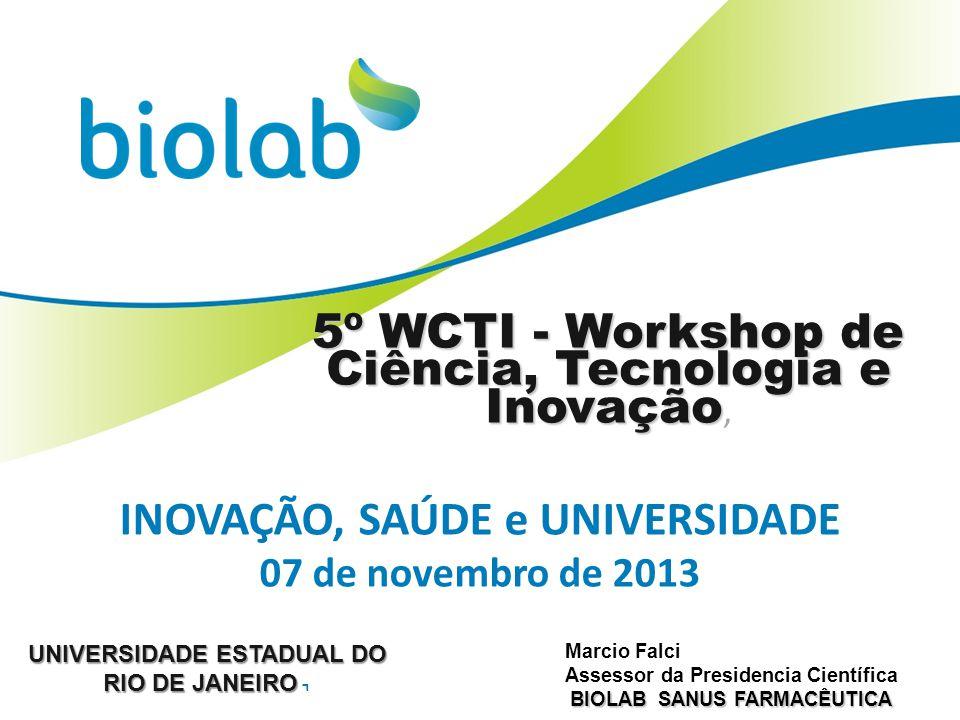 INOVAÇÃO, SAÚDE e UNIVERSIDADE 07 de novembro de 2013 5º WCTI - Workshop de Ciência, Tecnologia e Inovação 5º WCTI - Workshop de Ciência, Tecnologia e