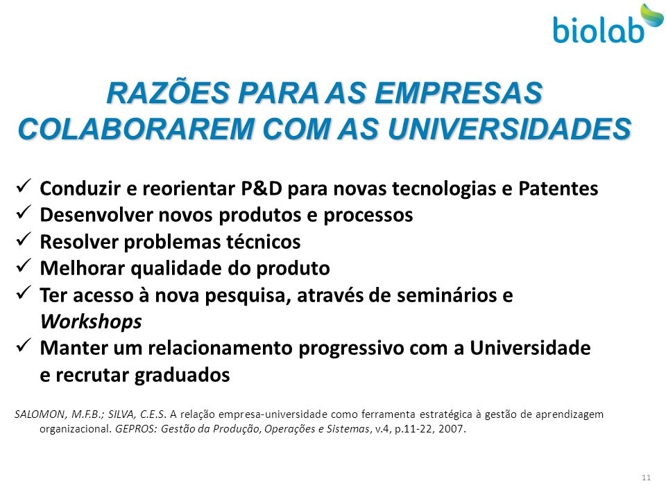 RAZÕES PARA AS EMPRESAS COLABORAREM COM AS UNIVERSIDADES Conduzir e reorientar P&D para novas tecnologias e Patentes Desenvolver novos produtos e proc