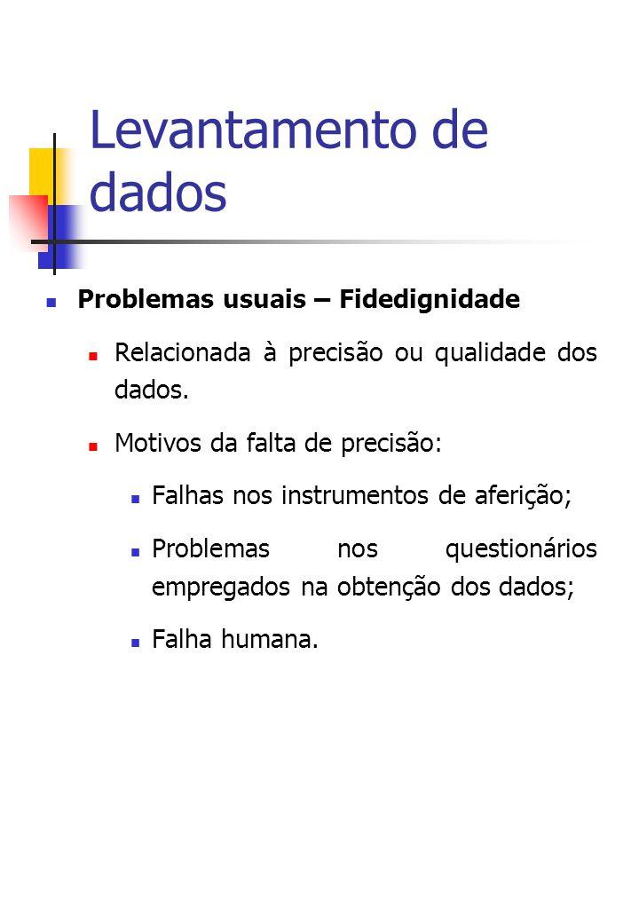 Levantamento de dados Problemas usuais – Fidedignidade Relacionada à precisão ou qualidade dos dados.